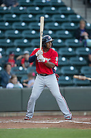 Khayyan Norfork (15) of the Potomac Nationals at bat against the Winston-Salem Dash at BB&T Ballpark on May 13, 2016 in Winston-Salem, North Carolina.  The Dash defeated the Nationals 5-4 in 11 innings.  (Brian Westerholt/Four Seam Images)
