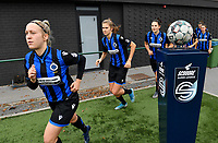 Celien Guns (10 Brugge) , Marie Minnaert (13 Brugge) and Frieke Temmerman (17 Brugge) pictured entering the pitch during a female soccer game between Club Brugge Dames YLA and RSC Anderlecht Ladies on the fifth matchday of the 2020 - 2021 season of Belgian Scooore Womens Super League , sunday 18 October 2020  in Brugge , Belgium . PHOTO SPORTPIX.BE | SPP | DAVID CATRY