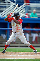 Brooklyn Cyclones outfielder Eudy Pina #33 during a game against the Batavia Muckdogs at Dwyer Stadium on July 26, 2012 in Batavia, New York.  Brooklyn defeated Batavia 7-1.  (Mike Janes/Four Seam Images)