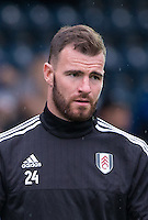 Goalkeeper Andy Lonergan of Fulham during the Capital One Cup match between Wycombe Wanderers and Fulham at Adams Park, High Wycombe, England on 11 August 2015. Photo by Andy Rowland.
