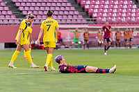 KASHIMA, JAPAN - AUGUST 5: Megan Rapinoe #15 of the USWNT yells to the referee during a game between Australia and USWNT at Kashima Soccer Stadium on August 5, 2021 in Kashima, Japan.