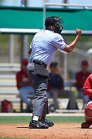 Umpire Harley Acosta during the second game of a doubleheader between the GCL Cardinals and GCL Marlins on August 13, 2016 at Roger Dean Complex in Jupiter, Florida.  GCL Cardinals defeated GCL Marlins 2-0.  (Mike Janes/Four Seam Images)