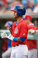 Buffalo Bisons second baseman Tim Lopes (5) on deck during a game against the Lehigh Valley IronPigs on June 23, 2018 at Coca-Cola Field in Buffalo, New York.  Lehigh Valley defeated Buffalo 4-1.  (Mike Janes/Four Seam Images)