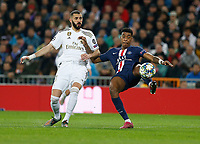Presnei Kimpembe of PSG and Real Madrid CF's Karim Benzema competes for the ball during UEFA Champions League match, groups between Real Madrid and Paris Saint Germain at Santiago Bernabeu Stadium in Madrid, Spain. November, Tuesday 26, 2019.(ALTERPHOTOS/Manu R.B.)<br /> Champions League 2019/2020  <br /> Real Madrid - PSG Paris Saint Germain <br /> Foto Alterphotos / Insidefoto <br /> ITALY ONLY