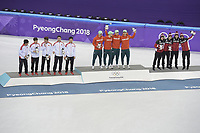 OLYMPIC GAMES: PYEONGCHANG: 22-02-2018, Gangneung Ice Arena, Short Track, Final results Relay Men, Team China, Team Hungary, Team Canada, ©photo Martin de Jong