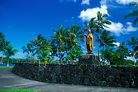 A beautiful statue of King Kamehameha The Great stands majesticaly along King Kamemehameha highway near downtown Hilo.