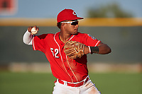 AZL Reds third baseman Debby Santana (52) during an Arizona League game against the AZL Athletics Green on July 21, 2019 at the Cincinnati Reds Spring Training Complex in Goodyear, Arizona. The AZL Reds defeated the AZL Athletics Green 8-6. (Zachary Lucy/Four Seam Images)