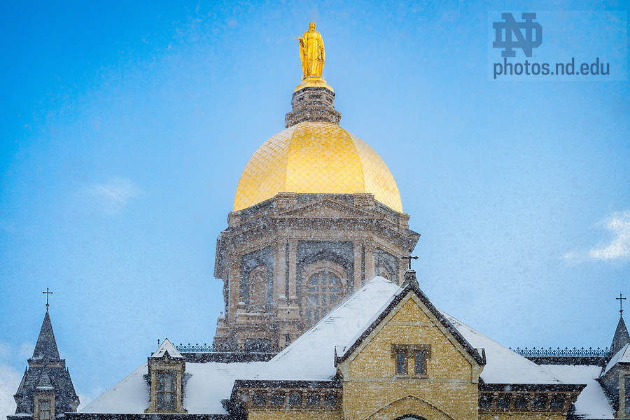 March 13, 2018; Dome in snow (Photo by Matt Cashore/University of Notre Dame)