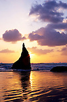 Bandon Beach State Park offers miles of beach walking, beach combing and tidepooling.  This image at dusk highlights wonderful sea stacks and sunsets.