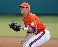 Infielder Jon Surber (25) of the Clemson Tigers in a game against the Eastern Michigan Eagles on Friday, Feb. 18, 2011, at Doug Kingsmore Stadium in Clemson, S.C. Photo by Tom Priddy / Four Seam Images