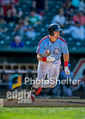 23 June 2019: New Hampshire Fisher Cats outfielder Chad Spanberger in action against the Trenton Thunder at Northeast Delta Dental Stadium in Manchester, NH. The Thunder defeated the Fisher Cats 5-2 in Eastern League play. Mandatory Credit: Ed Wolfstein Photo *** RAW (NEF) Image File Available ***