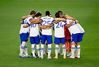 LOS ANGELES, CA - SEPTEMBER 02: SanJose Earthquakes huddle during a game between San Jose Earthquakes and Los Angeles FC at Banc of California stadium on September 02, 2020 in Los Angeles, California.