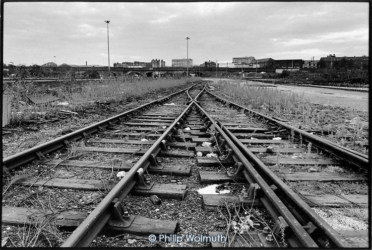 Disused railway tracks in King's Cross Goods Yard, 1989.
