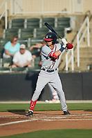 Drew Campbell (20) of the Rome Braves at bat against the Kannapolis Intimidators at Kannapolis Intimidators Stadium on July 2, 2019 in Kannapolis, North Carolina.  The Intimidators walked-off the Braves 5-4. (Brian Westerholt/Four Seam Images)