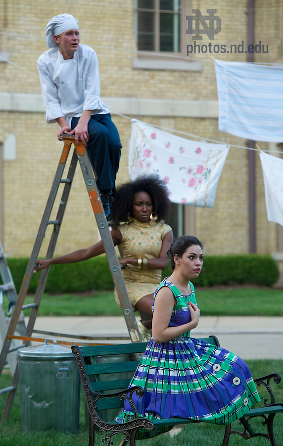"""Aug, 26, 2013; Actors from the Young Company, Jacob Schrimpf, Zuri Eshun and Ayssette Munoz perform Shakespeare's """" The Comedy of Errors"""" on the Main Building Quad (in front of the Golden Dome). Photo by Barbara Johnston/University of Notre Dame"""