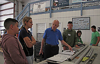 Astronaut Story Musgrave and discusses the AirCam construction project with high school student builders at the Experimental Aircraft Association hangar at the Sebring Regional Airport (SEF), Sebring, Highland County, Florida