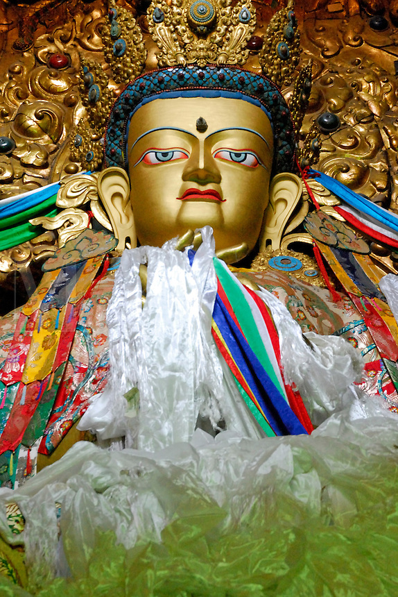 The Historical Buddha, Sakyamuni, Sakya Thukpa in Tibetan, whose teachings in the 5th century BC, founded Buddhist philosophy, statue draped with silk prayer scarves in the Main Assembly Hall, Drepung Monastery, Lhasa, Tibet, China..