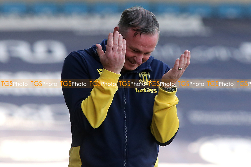 Stoke City Manager, Michael O'Neill shows his frustration during Millwall vs Stoke City, Sky Bet EFL Championship Football at The Den on 12th September 2020
