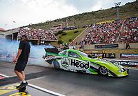 Jul 20, 2018; Morrison, CO, USA; NHRA funny car driver Jonnie Lindberg during qualifying for the Mile High Nationals at Bandimere Speedway. Mandatory Credit: Mark J. Rebilas-USA TODAY Sports