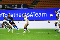 26th September 2020, San Siro Stadium, Milan, Italy; Serie A Football, Inter Milan versus Fiorentina;  Lautaro Martinez shoots and scores for Inter Milan