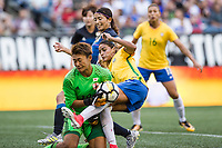 Seattle, WA - Thursday July 27, 2017:   Ayaka Yamashita and Gabi Nunes during a 2017 Tournament of Nations match between the women's national teams of the Japan (JAP) and Brazil (BRA) at CenturyLink Field.