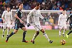 Real Madrid's Raphael Varane and Real Sociedad's Sergio Canales during La Liga match between Real Madrid and Real Sociedad at Santiago Bernabeu Stadium in Madrid, Spain. January 29, 2017. (ALTERPHOTOS/BorjaB.Hojas)