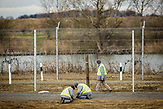 Prisioners buliding the second line of border fence on the hungarian-serbian border near the village of Röszke, Hungary.
