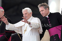 Pope Benedict XVI Monsignor Georg Gaenswein private secretary to Pope Benedict XVI  during his weekly general audience in St. Peter square at the Vatican, Wednesday. 30 May, 2012