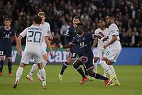 28th September 2021, Parc des Princes, Paris, France: Champions league football, Paris-Saint-Germain versus Manchester City:  Idrissa Gueye ( 27 - PSG ) - Bernardo Silva ( 20 - Manchester City ) - Riyad Mahrez ( 26 - Manchester City )