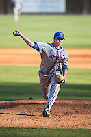 Louisiana Tech Bulldogs relief pitcher Adam Derouen (35) in action against the Charlotte 49ers at Hayes Stadium on March 28, 2015 in Charlotte, North Carolina.  The 49ers defeated the Bulldogs 9-5 in game two of a double header.  (Brian Westerholt/Four Seam Images)