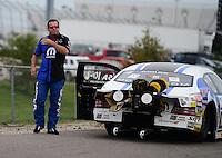 Sept. 30, 2012; Madison, IL, USA: NHRA pro stock driver Allen Johnson during the Midwest Nationals at Gateway Motorsports Park. Mandatory Credit: Mark J. Rebilas-