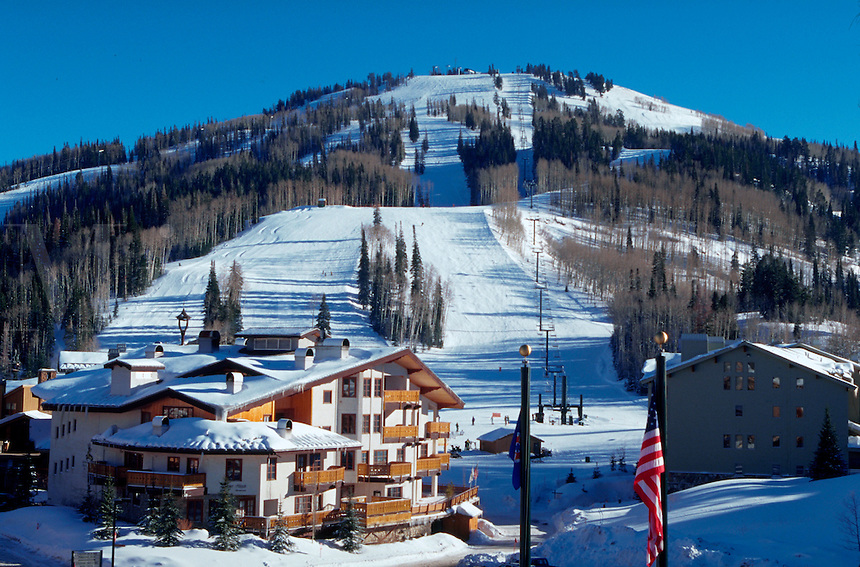 The Deer Valley Ski Resort, site of the 2002 Winter Olympic Alpine Ski Events. Park City, Utah.
