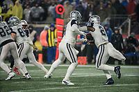 FOXBOROUGH, MA - NOVEMBER 24: Dallas Cowboys Quarterback Dak Prescott #4 hands off to Dallas Cowboys Runningback Ezekiel Elliott #21 during a game between Dallas Cowboys and New England Patriots at Gillettes on November 24, 2019 in Foxborough, Massachusetts.