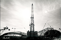 File Photo.<br /> <br /> Construction of Montreal Olympic stadium circa 1975<br /> <br /> Photo : Alain Renaud