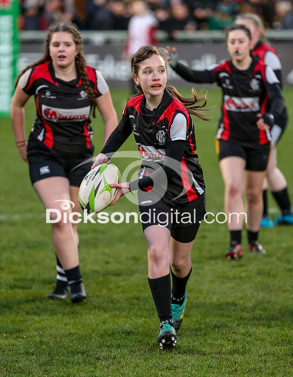 Saturday 12th January 2019   Ulster Rugby vs Racing 92<br /> <br /> Halftime Mini-Rugby during Heineken Champions Cup clash against Racing 92 at Kingspan Stadium, Ravenhill Park, Belfast, Northern Ireland. Photo by John Dickson / DICKSONDIGITAL