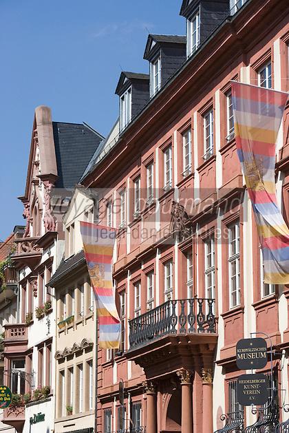Europe/Allemagne/Bade-Würrtemberg/Heidelberg: façade baroque du Musée du Palatinat dans le Palais Morass sur la Hauptstrasse