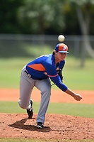 New York Mets pitcher Corey Oswalt (10) during a minor league spring training game against the St. Louis Cardinals on April 1, 2015 at the Roger Dean Complex in Jupiter, Florida.  (Mike Janes/Four Seam Images)