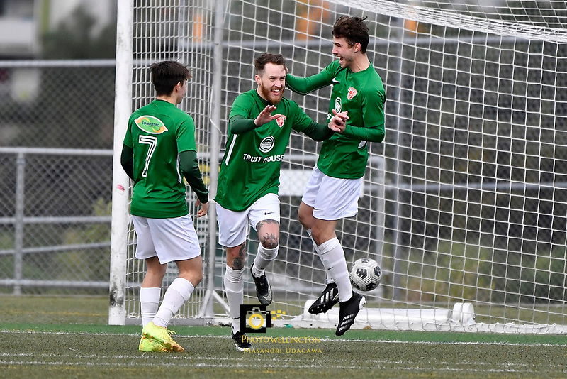 Jared Cunniff of the Wairarapa United celebrates a goal with team mates during the Central League Football -  North Wellington FC v Wairarapa United at Alex Moore Park ( Alex Moore Artificial), Johnsonville, New Zealand on Saturday 29 May 2021.<br /> Copyright photo: Masanori Udagawa /  www.photosport.nz
