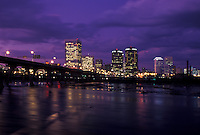 skyline, Richmond, VA, Virginia, Skyline of downtown Richmond in the evening. Manchester Bridge spans the James River.