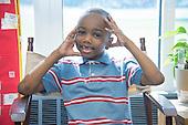 MR / Schenectady, NY. Zoller Elementary School (urban public school). Kindergarten classroom. Portrait of student (boy, 5) in class. MR: Abd2. ID: AM-gKw. © Ellen B. Senisi.