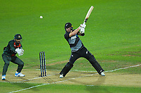 NZ's Glenn Phillips hits a six during the second International T20 cricket match between the New Zealand Black Caps and Bangladesh at McLean Park in Napier, New Zealand on Tuesday, 30 March 2021. Photo: Dave Lintott / lintottphoto.co.nz