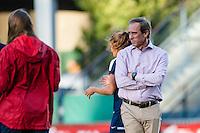 Seattle, WA - Sunday, September 11 2016: Washington Spirit head coach Jim Gabarra looks on during warm ups prior to a regular season National Women's Soccer League (NWSL) match between the Seattle Reign FC and the Washington Spirit at Memorial Stadium.