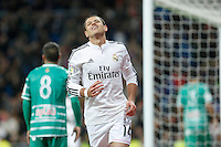 Real Madrid´s Chicharito celebrates a Spanish King Cup match between Real Madrid and Cornella at Santiago Bernabeu stadium in Madrid, Spain.December 2, 2014. (NortePhoto/ALTERPHOTOS/Victor Blanco)