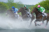 G'day G'day(left), Brands Hatch (center), and Freeboard storm through the water during the Steeplethon.
