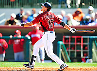 4 March 2010: Houston Astros catcher Jason Castro in action during the Astros' Grapefruit League Opening Day game against a Washington Nationals' split squad at Osceola County Stadium in Kissimmee, Florida. The Astros defeated the Nationals 15-5 in Spring Training action. Mandatory Credit: Ed Wolfstein Photo