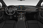 Stock photo of straight dashboard view of 2015 Audi S6 Base 4 Door Sedan