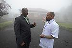 Dr Moses Ahabwe of MSH Rwanda speaks with the medical director of Kinigi District Hospital, Rwanda