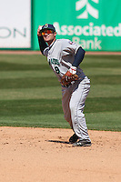 Cedar Rapids Kernels second baseman Pat Kelly (9) throws to first base during a game against the Wisconsin Timber Rattlers on April 23rd, 2015 at Fox Cities Stadium in Appleton, Wisconsin.  Cedar Rapids defeated Wisconsin 3-0.  (Brad Krause/Four Seam Images)