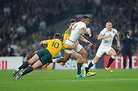Anthony Watson of England is tackled by Bernard Foley of Australia during Match 26 of the Rugby World Cup 2015 between England and Australia - 03/10/2015 - Twickenham Stadium, London<br /> Mandatory Credit: Rob Munro/Stewart Communications