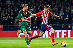Saul Niguez Esclapez (R) of Atletico de Madrid fights for the ball with Anton Miranchuk of FC Lokomotiv Moscow during the UEFA Europa League 2017-18 Round of 16 (1st leg) match between Atletico de Madrid and FC Lokomotiv Moscow at Wanda Metropolitano  on March 08 2018 in Madrid, Spain. Photo by Diego Souto / Power Sport Images